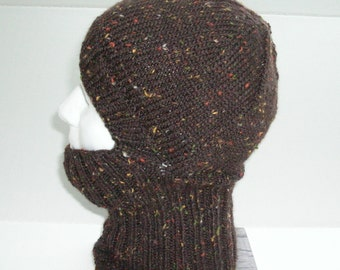 Chestnut Brown Tweed Knit Helmet Liner, Balaclava, or Ski Mask