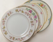 Mismatch Dessert Cake Bread Plates in Pink Floral Roses Leaves Mad Hatter Mixed Pattern China Wedding Shower Vintage (P302)