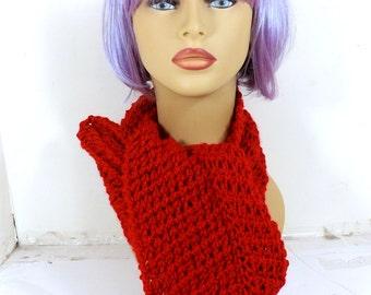 Eternity Scarf Crochet Scarf, Infinity Scarf Winter Scarf, Infinity Crochet Cowl Scarf, Knotted Red Scarf