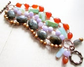 Goddess Nexus Multi Strand Bracelet - Labradorite - Carnelian - Pearls - Chrysoprase - Amethyst - Copper - Statement- Etsy Jewelry- catROCKS