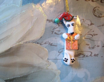 Greyhound or Corgi dog Christmas Ornament, clay, with cow, stuffy, handmade, whippet, sculpted, gift, whimsical