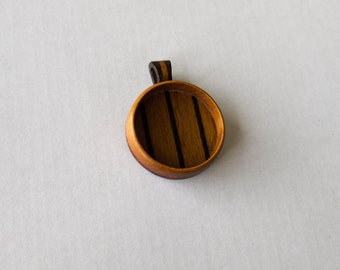 Deep fine finished hardwood pendant blank - Mahogany and Walnut - 30 mm - Wooden Bail - (Z30-MW)