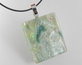 Dichroic Glass Pendant Necklace - Grayish Blue and Silver with Sage Green