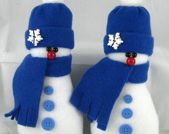Snowman Ornaments Set of 2, Christmas Holiday Decor, Handmade, Stuffed Snowman, Snowman Winter Decor in Dark Blue Fleece