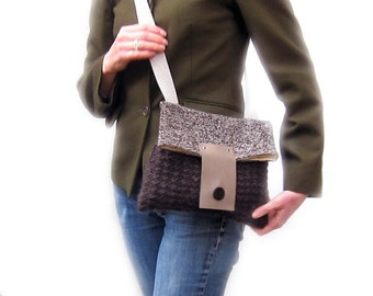 Tweed cross body bag brown wool knit purse fold over leather flap shoulder bag memake handmade