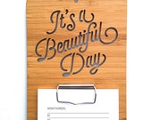 It's A Beautiful Day Calendar. Wall Calendar. Wood Calendar. Perpetual Calendar. Laser Cut Calendar. Wood Clipboard. Wall Art. Wall Hanging.