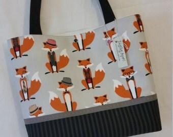 Fox fabric handbag purse tote bag