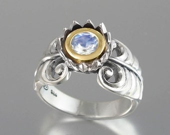 BLUE LOTUS 14K gold and silver ring with Moonstone