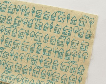 Avenue - Blue - Hand Screenprinted Fabric - Summersville - 9.5 x 14 inches - Houses - Destash