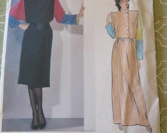 Vintage 80s Vogue 1100 Designer Chloe paris Original Misses Dress Sewing Pattern size 12 UNCUT