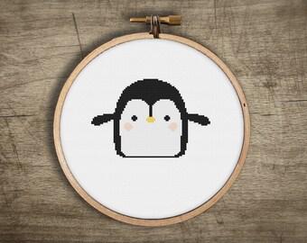 modern cross stitch pattern ++ cute baby penguin ++ kawaii ++ pdf INsTAnT DOwNLoAD ++ diy hipster ++ handmade design