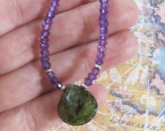 Amethyst Idocrase Sterling Silver Necklace DJStrang Gemstone Boho Cottage Chic Green Briolette Purple Violet
