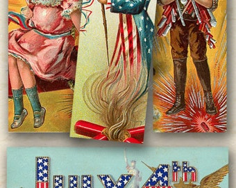 Victorian Fourth of July Postcards in 1x3 inches for microslides and more -- piddix digital collage sheet no. 346