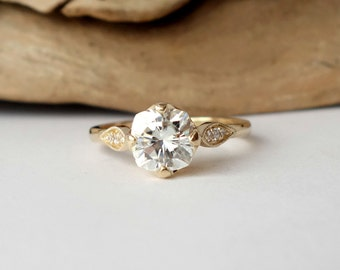 Prong Set Moissanite and Diamond Accent Ring
