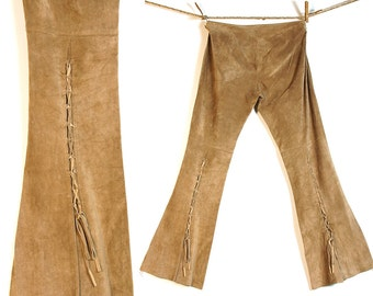 Suede Bootleg Lace Up Pants / Vintage 1990s Tan Suede Leather Flares with Lacing on the Legs