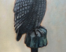 """Garden Owl Original Oil Painting, 20"""" by 10"""""""