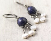 Lapis and Pearl Wrapped Chandelier Earrings Oxidized Silver