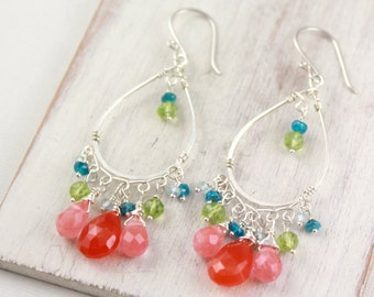 Fruit Punch Gemston and Silver Chandelier Earrings