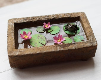 Dolls House Miniature Lily Pad Pond in a Trough