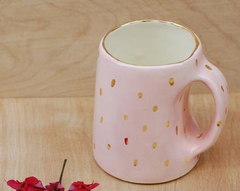 Ceramic Mug - Pink and Gold - Modern Ceramics - Ceramics and Pottery