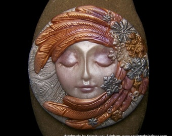 Snow Angel Cameo Handmade OOAK Polymer Clay Cabochon Face cab, Pearl & Metallic winter christmas hannukah theme