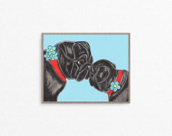 Black Pug Art Print, Gifts for Mom, Mom and Daughter, Nursery Decor Girl, Nursery Wall Art, Gift for Mother, Mother Daughter Gift, Baby Gift
