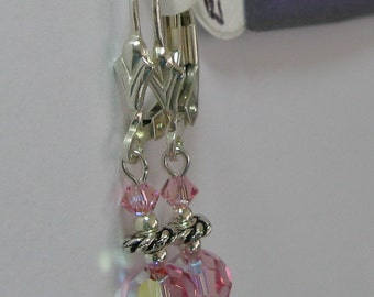 Light Rose AB Swarovski Crystal and Sterling Silver Earrings - E557