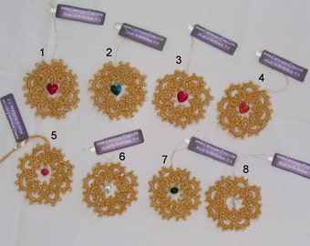 Hand-Tatted Gold Wreath Ornaments with Swarovski Crystals - WG2