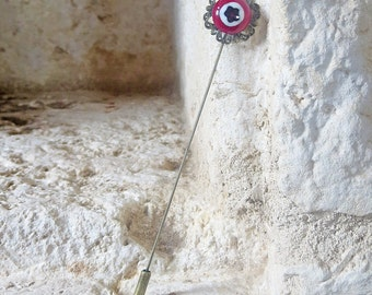 Fused Glass and Filigree Long Stick Pin in Dark Red, Black and White - Handmade