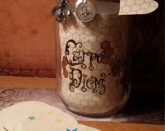 "Gratitude Mason Jar ""Carpe Diem Bee"" HAND DRAWN 32 oz Smooth, Beautiful Collaboration of Art, Style & Charm OOAK by Carole Anzolletti"