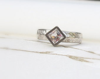 Square White Topaz Solitaire Ring with Olive Leaf Band Modern Alternative Egangement Ring or Sterling Silver Stacking Ring