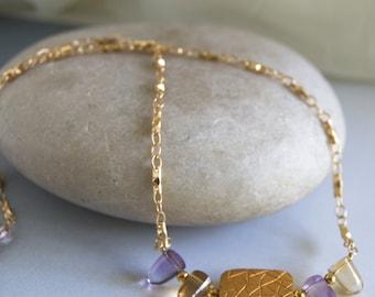 Amethyst Citrine Necklace Gemstones Gold Vermeil Unique Gold Chain Ametrine Gemstones  Gold Vermeil Bead Necklace