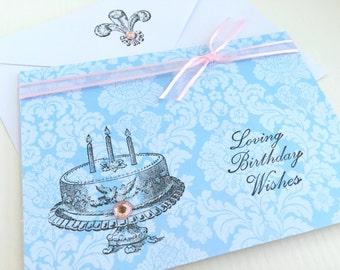 Handmade Birthday Card.Blank.Pastels.Happy Birthday.Shabby Chic.light blue.light pink.birthday cake.vintage style.French.Parisian.Wishes