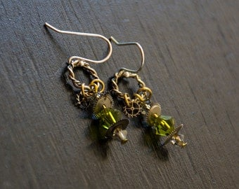 Petite Steampunk Earrings - Olivine Green Crystals - Vintage Gears - Sterling Silver Earwires - Mixed Metals - Post-apocalyptic Jewelry