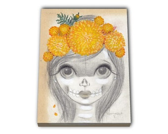 MARIGOLDEN Big Eyed Skeleton Girl portrait. Canvas Print of an Acrylic On Canvas Painting. Hand signed.