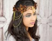 Elven Crown, Brown and Gold, Elven Headdress, Fairy Crown, Costume Headpiece, Headdress, Flower Crown, Floral Crown, Woodland