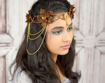 Elven Crown, Brown and Gold, Elven Headdress, Fairy Crown, Costume Headpiece, Headdress, Flower Crown, Floral Crown, Woodland
