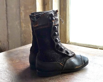 Velvet and Leather High Button Boots
