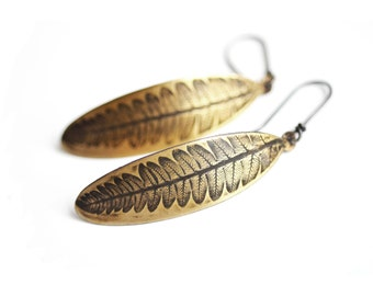 Rustic Fern Earrings. Brass Botanical Earrings. Fern Impression Oxidized Long Sterling Silver Earwires