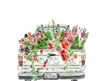 Floral Art, Floret Truck, Floral Watercolor, Flowers Illustration Farmhouse Art, Children's Wall Art, Nusery Decor