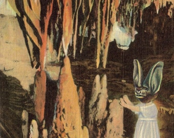 Cute Bat Art, Funny Bat Artwork, Bat Cave Art, Virginia Postcard, Virginia Artwork, Spelunker Gift, Caver Caving, Original Collage on Paper
