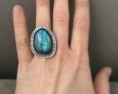 Labradorite ring - boho ring - made in your size - cocktail ring - statement ring - unique ring