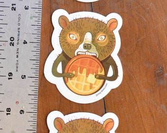 Waffle Bear Pack of Three Stickers