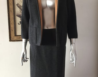1960s Charcoal and Tan Italian Knit Suit by Marchesa di Grésy