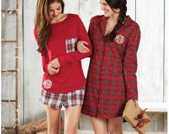 Monogram Red Plaid Pajama Nightshirt - Mud Pie Pajama Nightshirt - Plaid Pajamas - Ladies Pajamas - Red Plaid Pajamas - Christmas Pajamas