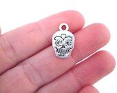 Silver Plated Sugar Skull Charms Day of the Dead Pendants