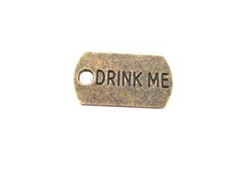 """Brass Plated """"Drink Me"""" Charms, Pick Your Amount, G269"""