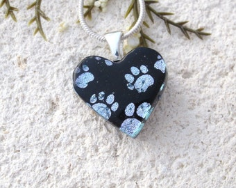 Petite Necklace, Paw Prints Necklace, Fused Glass Jewelry, Paw Heart Pendant, Dog Paws, Cat Paws, Silver Black Necklace, 101516p107