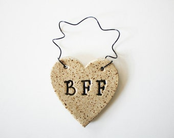 BFF Ornament - ceramic clay - heart shaped - personalized, handmade, ready to mail