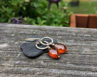 Orange Hessonite Garnet Sterling Silver Genuine Gemstone Dangle Earrings, Wire Wrap Handmade Jewelry, Long Dangle, Faceted Sparkle